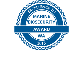 The EMBA logo, which says Excellence in Marine Biosecurity Award WA
