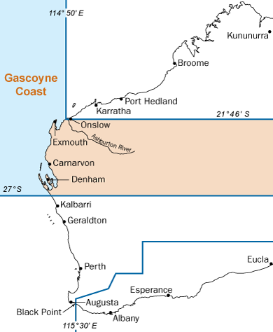 Westeran Australia map with gascoyne bioregion highlighted