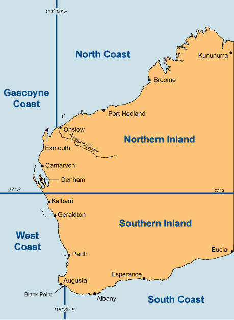 illustration map of Westen Australia