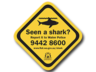 An illustration of a sticker that says: Seen a shark? Report it to Water Police on 9442 8600