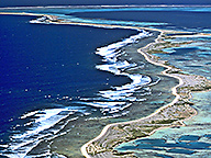 Aerial view of the Abrolhos Islands region showing untouched environmental landscape