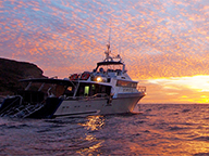 A Fisheries patrol vessel pictured nearing sunset