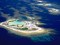 An aerial view of a cluster of islands in the Abrolhos group