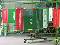 A rack of BEN signs ready for dispatch