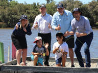 Fisheries Minister with other fishers on a Swan River jetty