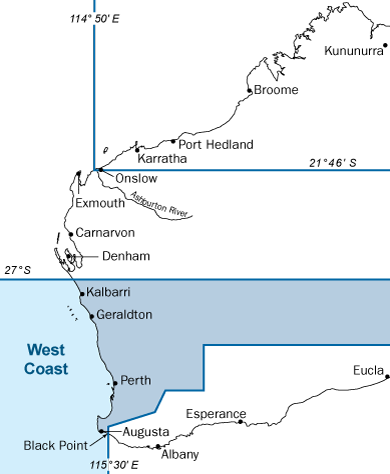 Western Australia map with west coast bioregion highlighted