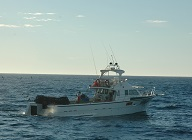 Small commercial fishing boat on ocean
