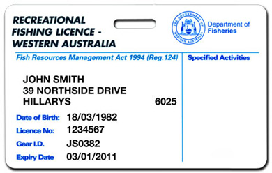 an example of a recreational fishing licence plastic card